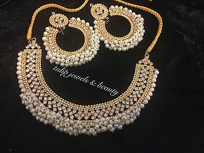 Indian / Pakistan Wedding, Party Manjoos Necklace Earrings Set + Free PVC Pouch