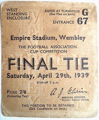 1939 F A CUP FINAL TICKET PORTSMOUTH 4 v WOLVES 1