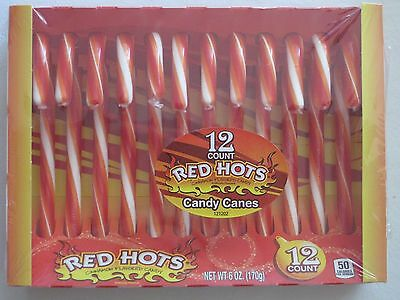 12 Red Hots Cinnamon Candy Canes Holiday Christmas Dozen Candies 6oz Auc