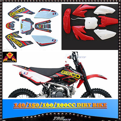 WHITE/RED STICKERS + PLASTICS For HONDA CRF 70 140/150/160/200 CC Pit Dirt BIKE