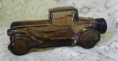 Vintage Avon Brown Glass Car Sterling Six Spicy After Shave Bottle