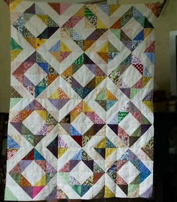 Scrappy Depression Block Quilt Top Lap Baby Wall
