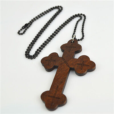 Religious Christian Necklace With Dark Brown wooden Cross