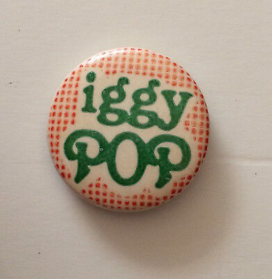 "Rare Vintage 70's 80's IGGY POP pinback button pin badge 1"" Stooges"