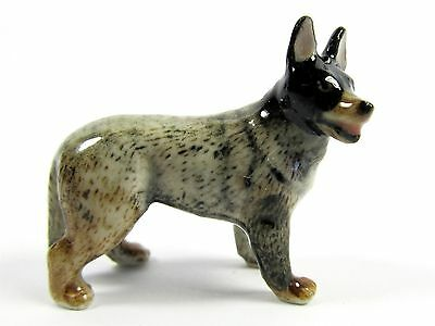 Miniature Ceramic Hand Painted Australian Blue Cattle Dog Tiny Standing Figurine