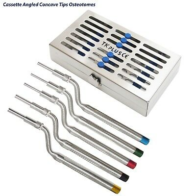 Dental Implant Osteotomes Concave Set of 5Pcs Angled Sinus lift with Cassettes