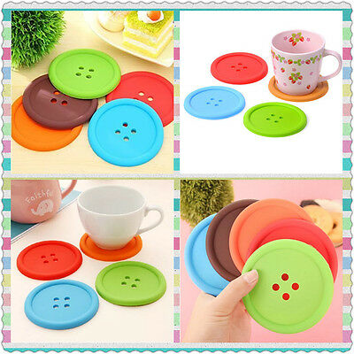 Silicone Giant Button Coaster Tea Cup Mug Drinks Table Placemat Place Mat Glass-