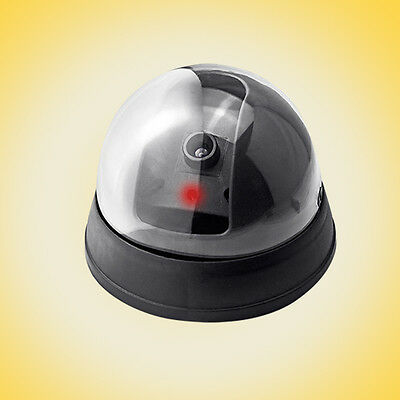 Dummy Fake CCTV Dome Camera Home Security Flash Red LED Light Warning sticker