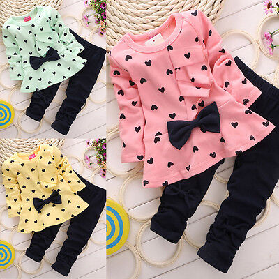 2PCS Kids Baby Girls Sets Outfits Clothes Bow T-shirt Tops Dress + Long Pants