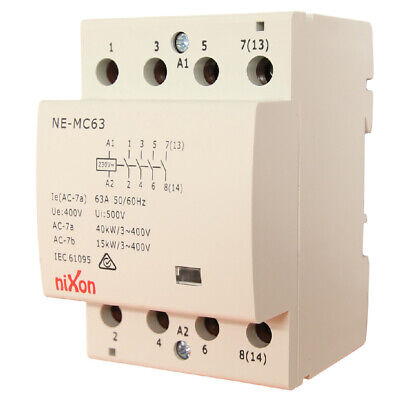 63A 4Pole - Normally Open - Din Rail Contactor