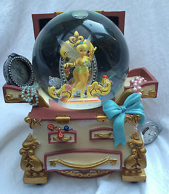 RARE DISNEY TINKERBELL JEWELLRY CHEST MUSICAL SNOWGLOBE you can fly NEEDS REPAIR
