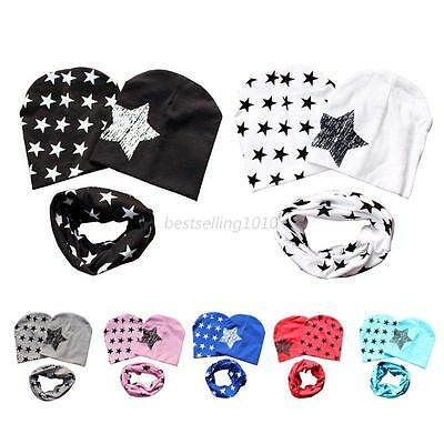 Baby Toddler Kids Boys Girls Cotton Stars Hat Cap 2 Pcs Caps + Scarf Warp Set