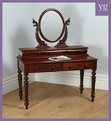 Antique Victorian Anglo Indian Colonial Teak Makeup Dressing Table With Mirror