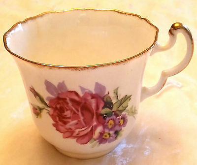 Adderley bone china teacup with rose and gold trim