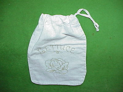 VTG Embroidered Natural Cotton Muslin Drawstring LETTUCE Bag - never used! Cute!
