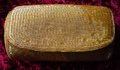 Retro vintage small gold yellow beaded round evening clutch with shoulder strap