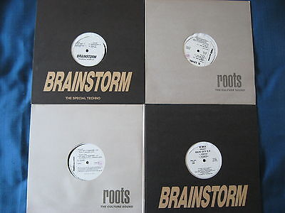 """15x12"""" LOT Brainstorm Roots Trans Former Techno & Clubsound Italy records   NM"""