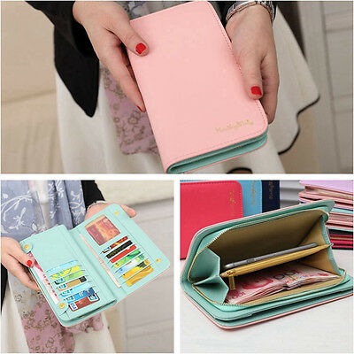New Women Leather Bifold Wallet Clutch Card Holders Purse Lady Long Handbag