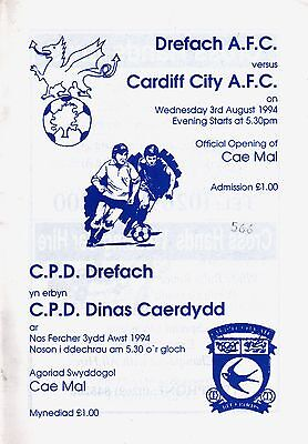 1994/95 Drefach v Cardiff City, official opening of ground, PERFECT CONDITION