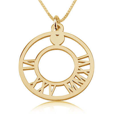 24k Gold Plated Roman Numeral Circle Necklace - Disc Date Engraved - oNecklace ®