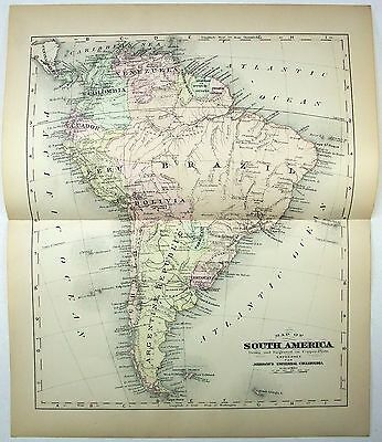 Original Johnson's 1896 Copper-Plate Map of South America