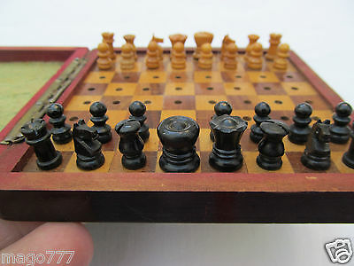 Antique Travel Chess Game Handmade Wood