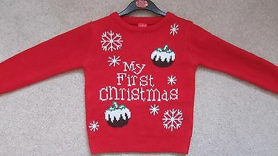 Children's Christmas Jumper 18-23 Months Red 'My First Christmas' New Freepost.