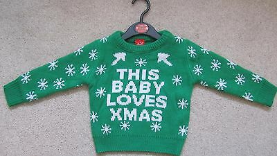 Children's Christmas Jumper 6-9 Months Green 'This Baby Loves Xmas ' New