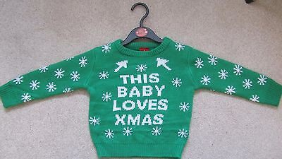 Children's Christmas Jumper 12-18 Months Green 'This Baby Loves Xmas ' New