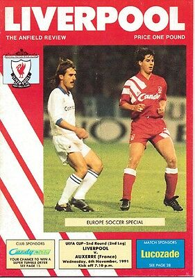 1991/2  Liverpool v Auxerre  (UEFA Cup)