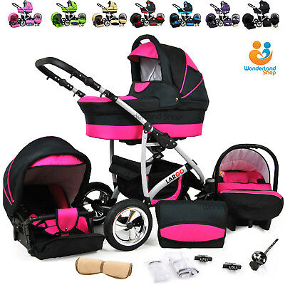 Baby Pram Pushchair Stroller 3in1 Travel System Buggy 23 Colours FREEBIES