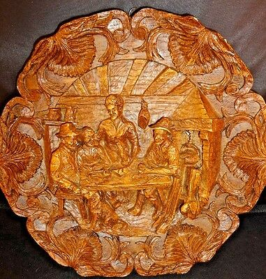 Hand carved plaque black forest style