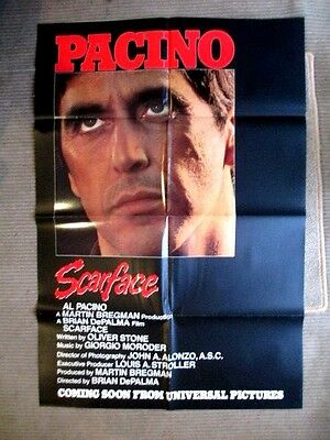 SCARFACE AL PACINO REAL PROMO ADVANCE RARE 38X30 ins UK QUAD MOVIE POSTER