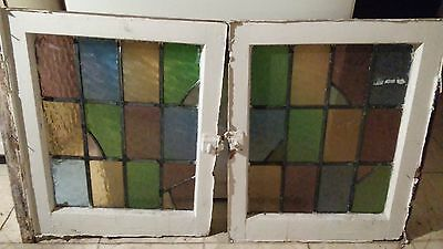 Antique Vintage Pair Leaded Stained Glass Windows