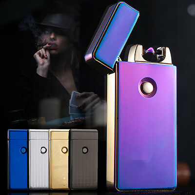USB Windproof Lighter Rechargeable Cigarette Plasma Dual Arc Flameless Electric