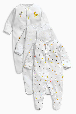 ВNWT NEXT Baby Playsuits Outfit • White Duck Sleepsuits 3pk • Cotton • 1 Month