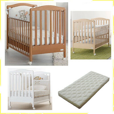 Cot Wood Solid Web Azzurra Design + Mattress Removable Anti-Mite