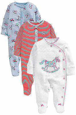 •••ВNWT NEXT Baby Playsuits Outfit • Horse Sleepsuit 3pk • 100% Cotton • 3-6 Mon