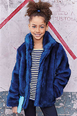 ВNWT NEXT Girls' Coats Jackets • Cobalt Faux Fur Coat • 100% Cotton • 3-4 Years