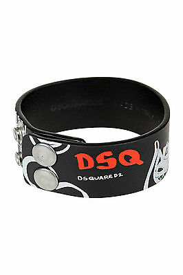 DSQUARED2 black painted leather wristband bracelet NEW