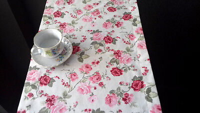 """Cotton Table Runner Pink Roses Floral Cotton 78"""" x 16"""""""