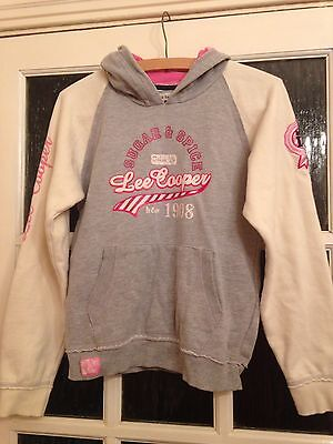 Girl Pink Grey Lee Cooper Sweat Hoody Hooded Top VGC Age 13