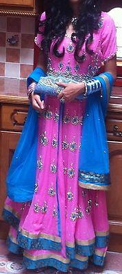 Baby Pink, Blue and Gold Lacha Lengha Dress