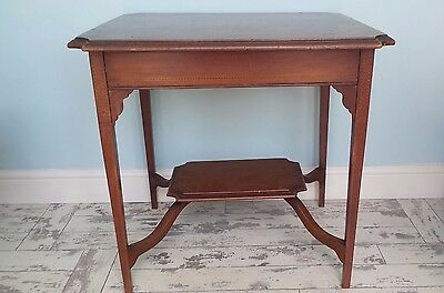 Edwardian Antique Inlaid Mahogany 2 Tier Occasional Table