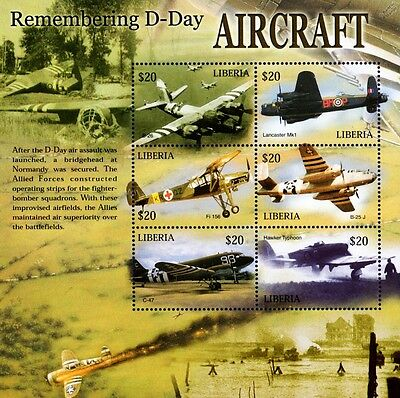 WWII 60th Anniversary of D-Day Aircraft (RAF Lancaster) Stamp Sheet/2004 Liberia