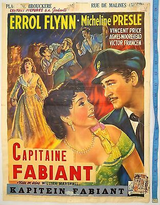 "Rare 1951 Adventures Of Capitaine Fabiant Errol Flynn Film Movie Poster 14""x18"""