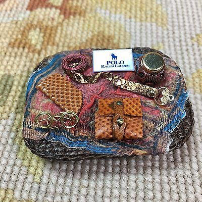 Pat Tyler Dollhouse Miniature Designer Wicker Basket Tray W/Wallet Belt, Etc.