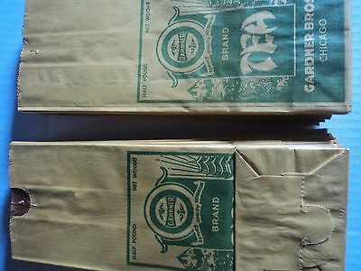 Vintage Gardner Brand Tea Paper Bags ! lot of 50 bags new old stock circa 1940