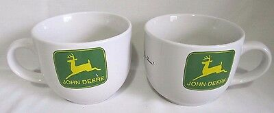 (2) JOHN DEERE TRACTOR LARGE SOUP CHILI BOWL COFFEE CUP MUG White Yellow Green