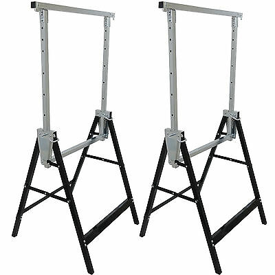 2 Heavy Duty Trestle Telescopic Builders Work Bench Saw Horse Folding Carpenter